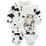 Packitcute New Born Baby Einteiler Strampler Niedlicher Tierdruck Baumwolloverall für 0-12 Monate (Milk, 52-59CM)