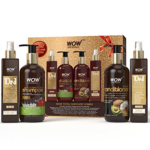 WOW Apple Cider Vinegar Shampoo - DIWALI PREMIUM GIFT PACK Total HairCare Combo - No Parabens, Mineral Oils & Sulphates