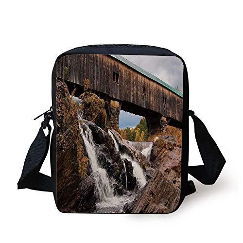 Cascading Rock (Landscape,Old Rustic Oak Covered Bridge Over Cascading Waterfalls Rock Fall Season American City,Brown Print Kids Crossbody Messenger Bag Purse)