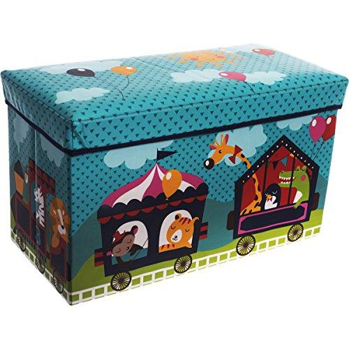 Staubox und Sitzbank, Aufbewahrungsbox Zirkus mit Deckel, 60 x 30 cm - Spielzeugbox Sitzbox Kinder Aufbewahrungs Kiste Truhe Tonne Box Faltbar