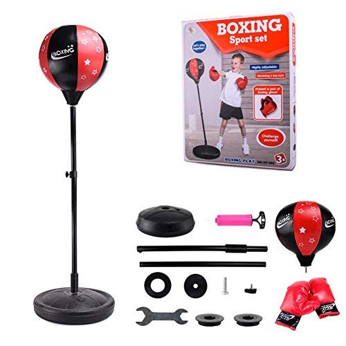 Sommer's Laden Punchingball Boxstand Höhenverstellbarer Standbox, Reflex Fightball Set Speed Fitness Punch Boxing Ball Mit Kopfband, Kinder Jugend Höhenverstellbar