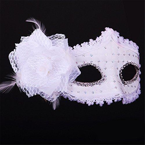 Halloween Maske Leder Make-up Tanz Show Gemalte Federn Halbes Gesicht Schöne Prinzessin Masken,Weiß