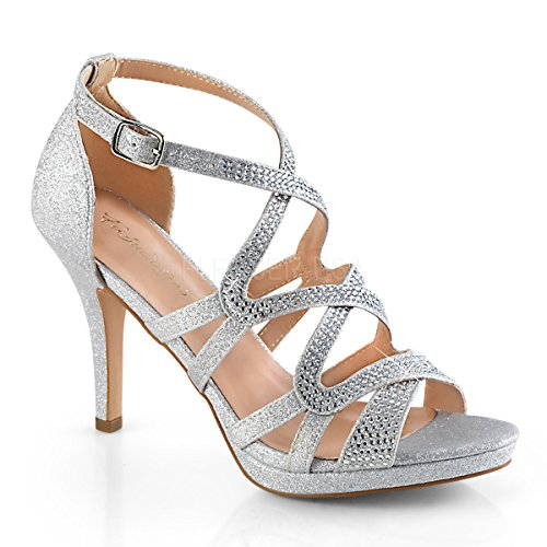 Fabulicious Damen Sandaletten Daphne-42 Silver Fabric Gr.38 EU Strappy High Heel-schuhe