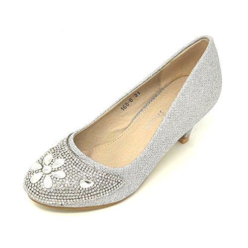 Mädchen Glitzer Strass Top Prinzessin Absatz Schuhe Sandalen Keil Pumps Taufe - Gr. 28-35 (35, Silber) (Strass Kinder Schuhe)