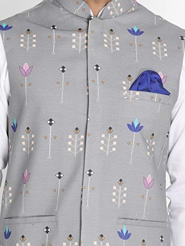 Vastramay Men's Light Cement Grey Silk Blend Ethnic Jacket - (VASMJ042) for Size - 40