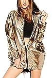 Kapuzen - Jacke Lässig Wasserdicht Frauen Komplette Zip - Glänzende Mäntel Gold M