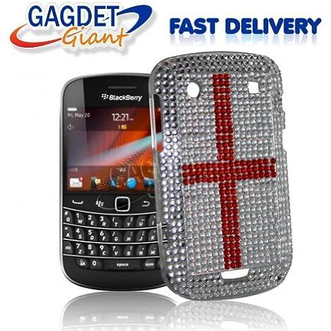 Gadget Giant Blackberry Bold Touch 9900 perlas de imitación hecho a mano de cristales de imitación diseño de estrellas fugaces - diseño de cruz de San Jorge + incluye Protector de pantalla LCD - Compatible con gran Bretaña - de Londres 2012 Olympics - 2012 Queens de Jubileo de diamante