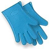 x-eplan Durable silicona resistente al calor barbacoa guantes (azul)