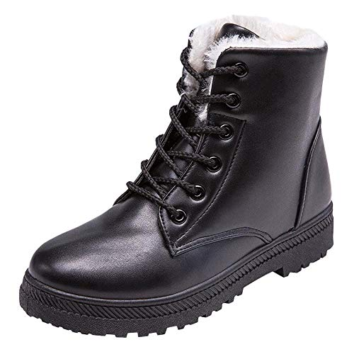 Damen Stiefeletten Winter Gefüttert Combat Boots Worker Stiefel Schuhe ()