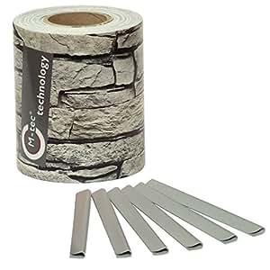 sichtschutzstreifen basic line motiv steinmauer 35m zum einflechten im gittermattenzaun. Black Bedroom Furniture Sets. Home Design Ideas