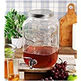 Glass Transparent Mason Jar Beverage Dispenser, Glass Air Tight , Liquor Dispenser Beer Dispenser, Cold Water Pitcher ,4 Liter - (1 PIECE) By HomeCart