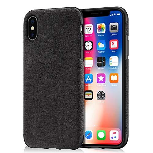 Arrivly Alcantara Cover Für iPhone X/XS Schwarz Hülle Wildleder Case Handyhülle Rehleder Mikrofaser Schutzhülle (iPhone XS)