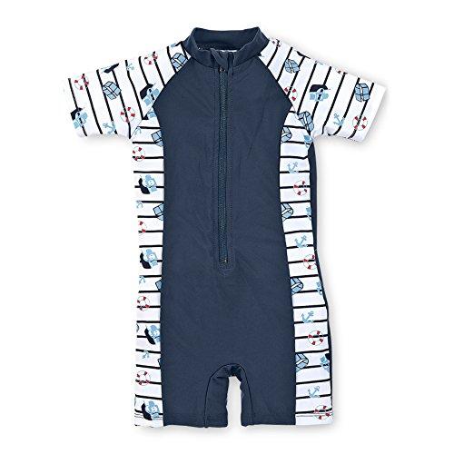 Sterntaler Kinder Jungen Schwimmanzug, UV-Schutz 50+, Alter: 4-6 Jahre, Größe: 110/116, Weiß/Dunkelblau
