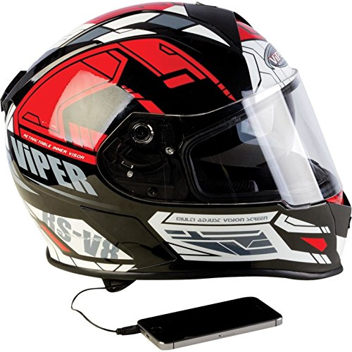 VIPER RS-V8 MOTORRADHELM ROLLERHELM MIT STEREO SPEAKERS MIT INNENVISIER ROT (XL) (Atv Helm Mit Bluetooth)