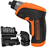 Black & Decker Compact Cordless Rechargeable Screwdriver with LED Light Includes Right Angle Attachment and 8 Screw Bits