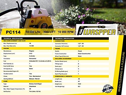 ✦ WASPPER PC114 ✦ Bomba de Agua Gasolina De Uso Rudo /& Portable con Tasa de Flujo de 14000 l//hr ✦ Elevaci/ón de Agua de 30m ✦ 10000 RPM Motor de Petr/óleo y Accesorios incluidos