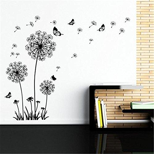 Wandsticker 2 Stück Dandelion Wandtattoo - entfernen Sie Wand-Aufkleber-Kunst-Dekor- Vinyl Großes Schalen- und Stock-Wandgemälde -