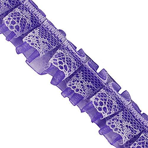 Sunbe shine 2-lagiges Koreanisches Spitzenband zum Aufnähen von Puppenkleidern dekoriert 10 Meter violett (Koreanisch Brautkleid)