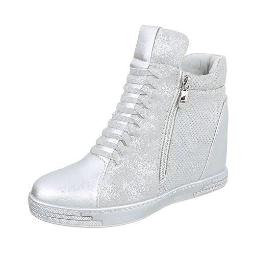 Ital-Design Keilstiefeletten Damen-Schuhe Plateau Keilabsatz/Wedge Keilabsatz Reißverschluss Stiefeletten Silber, Gr 39, 6603-Y-