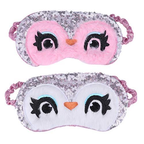 Lurrose Weiche Plüsch Eule Schlafmaske Paillette Augenmaske Abdeckung Augenbinde Süße Eyeshade Ice Compress Hot Compress (Nacht Eule 2 Kostüm)