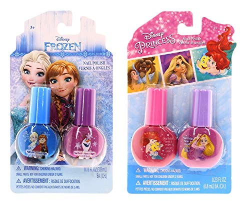 Disney Frozen Beauty Bundles For Kids - 2 Items : Disney Frozen Nail Polish - Two Pack, Disney Princess Nail Polish - Two Pack