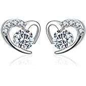 925 Sterling Silver Heart Earrings Studs with Cubic Zirconia Crystal Earrings for Women