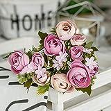 WOJUEF 28Cm / 11In RoseArtificielleSoie Camélia en SoieArtificielle Bouquet 10 Big HeadPasCher Faux Fleurs pour La Décoration De Mariage À La Maison Intérieur