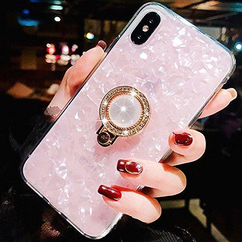 WATACHE iPhone XS Hülle,iPhone X Hülle, Muschel-Muster-weicher TPU Schock-Absorption Kristallstoßkasten mit Glitter-Diamant 360 Grad-Umdrehungs-Ring-Griff-Halter-Ständer für Apple iPhone XS/X (Rosa)