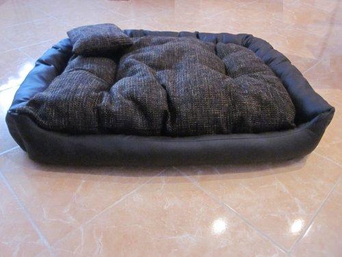 hundeinfo24.de Hundesofa Hundebett Hundekorb Kunstleder Wolle Groß 100 cm x 80 cm x 25 cm