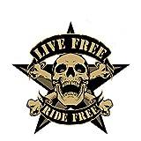 Sticker Skull Tête de Mort 'Live Free Ride Free'