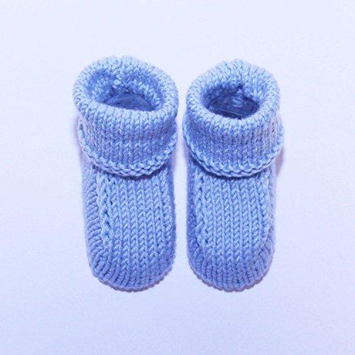 19b86acc33d65 Chaussons Bébé en Laine De Luxe Fait Main   - Bleu   6-12 mois
