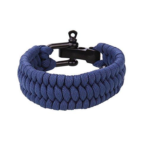 CXZC Seil geflochtenes Armband mit U-förmiger Schnalle, für Camping Wandern Paracord Überlebens Schnalle Notfallrettung Reise Sport Seil Rostfreier Stahl für Camp