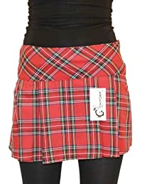 "Ladies Tartan Mini Skirt Length 14"" (36cm) (14, Red)"