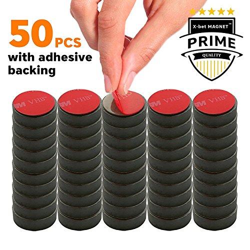 Selbstklebende Magnete Ferrit - Klein Rund Magnetes 18 mm - Mini Magnete für Kühlschrank, Whiteboard, Magnettafel, Magnetboards, Memoboard - Starke Klebe Rückseite - Packung mit 50