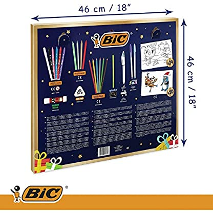 BIC Calendario de Adviento – 24 Artículos de Escritura: /6 Rotuladores Magic /6 Lápices de Colores /4 Ceras /1 Pegamento /1 Lápiz de Grafito /1 Goma /3 Bolis; 24 Tarjetas y 20 Adhesivos para Colorear