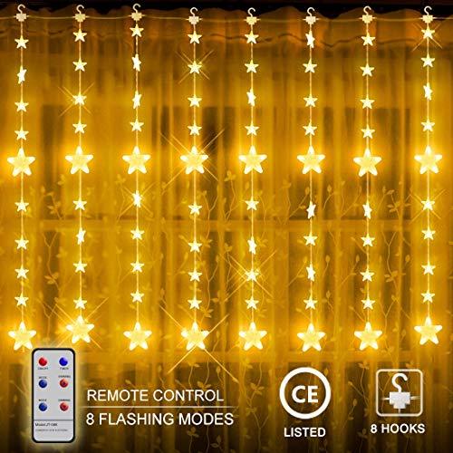 LED Lichterketten, 80 Sterne 144 LEDs 2mx1.5m Anschließbar Sternenvorhang mit 8 Modi Fernbedienung, Weihnachtsbeleuchtung für Fenster Dekorat [Energieklasse A+]
