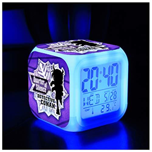 ZhangXF Detektiv Conan Wecker, Super Kreative 3D Stereo LED Nachtlicht Elektronische Wecker Geburtstagsgeschenk Bett Schlafzimmer (Sieben Farben),07 07 Lcd