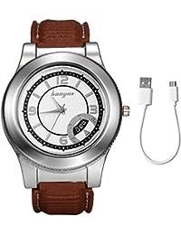 Lancardo Reloj Comercial Analógico de Cuarzo Pulsera con Correa de Silicona Dial de Números Romanos Encendedor de Cigarrillo sin Llama Recargable con USB Cable para Hombre (Marrón)