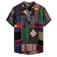 Lazzboy Men Shirt Top Plus Size Multicoloured Colour Print Plus Size Graffiti Short Sleeve Buttons Loose Blouse(2XL,Multicoloured-Colour Block)
