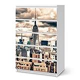 creatisto Möbeltattoo für Ikea Malm 6 Schubladen (Hoch) | Dekorsticker Klebefolie Möbel-Folie Sticker | Einrichtung Gestalten Gestaltungsideen | Design Motiv Skyline NYC