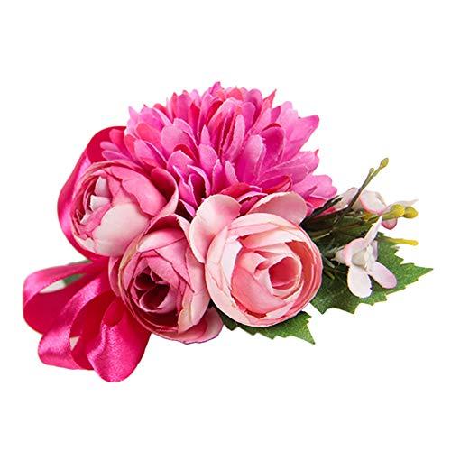, künstliche Seidenblume, Brautpaar Bräutigam Brosche, Blumenstrauß für Brautjungfern Trauzeugen, für Hochzeit, Abschlussball, Party-Dekoration, 6 Farben, rosarot, 9cm×12cm ()