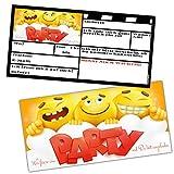 SMILEY EINLADUNGEN Karten-Set XL - 24 coole Emoji Einladungskarten zum Ausfüllen - ideal für Jungen Mädchen Kindergeburtstag Party von BREITENWERK®