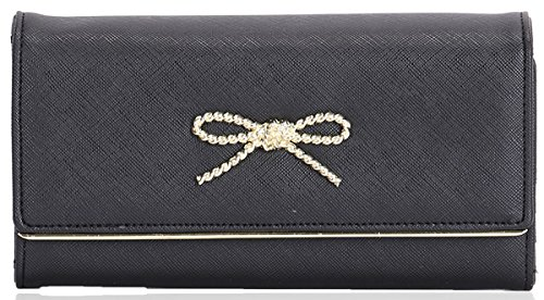 UKFS Ladies Womens Fashion Clutch Cuir Longue bowknot Wallet Porte-monnaie Noir