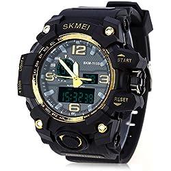 Leopard Shop SKMEI 1155 Men LED Digital Quartz Watch Dual Time Day Alarm Light Water Resistance Wristwatch Golden