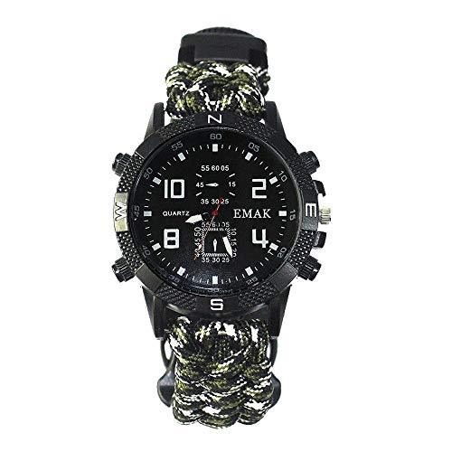 best gift Survival Uhr Wasserdicht Kompass mit Messer Notfall Überleben Taschenlampe Spiegel Kompass und Thermometer Multifunktionalen Outdoor-Ausrüstung -