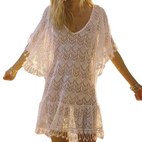 Yogogo Mini Robe Plage Femme Col V Couleur Unie Maillot De Bain Cover Up Bikini Couverture Loose Chemisiers Blouses Eté Dentelle Crochet Grande Tunique (M, Blanc)