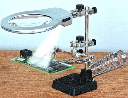 tercera mano con luz (blanco) con retroiluminación LED para su soldar y modelización con hierro fundido base y lápiz (lápiz capacitivo) soldadura compartimento.