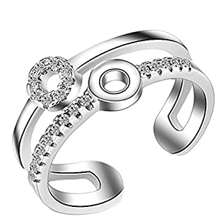 AIUIN Double Round Diamond Open Ring Adjustable Wedding Jewelry for Women X 1Pcs,With a jewelry bag