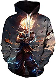 CHENMA Men Dragon Ball 3D Print Pullover Hoodie Sweatshirt with Kangaroo Pocket