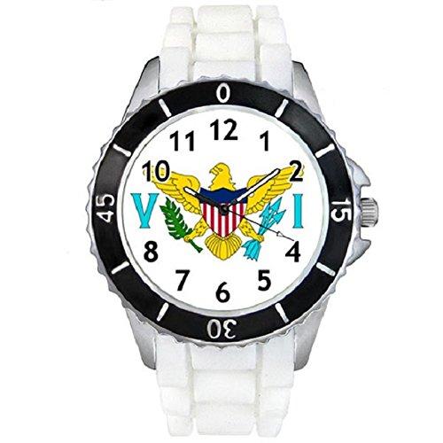 virgin-island-etats-unis-drapeau-pays-montre-unisex-bracelet-silicone-blanc